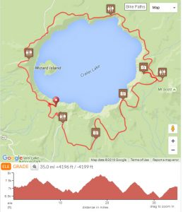 Bicycling Crater Lake - Route Map
