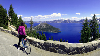 Bicyclist's view of Crater Lake